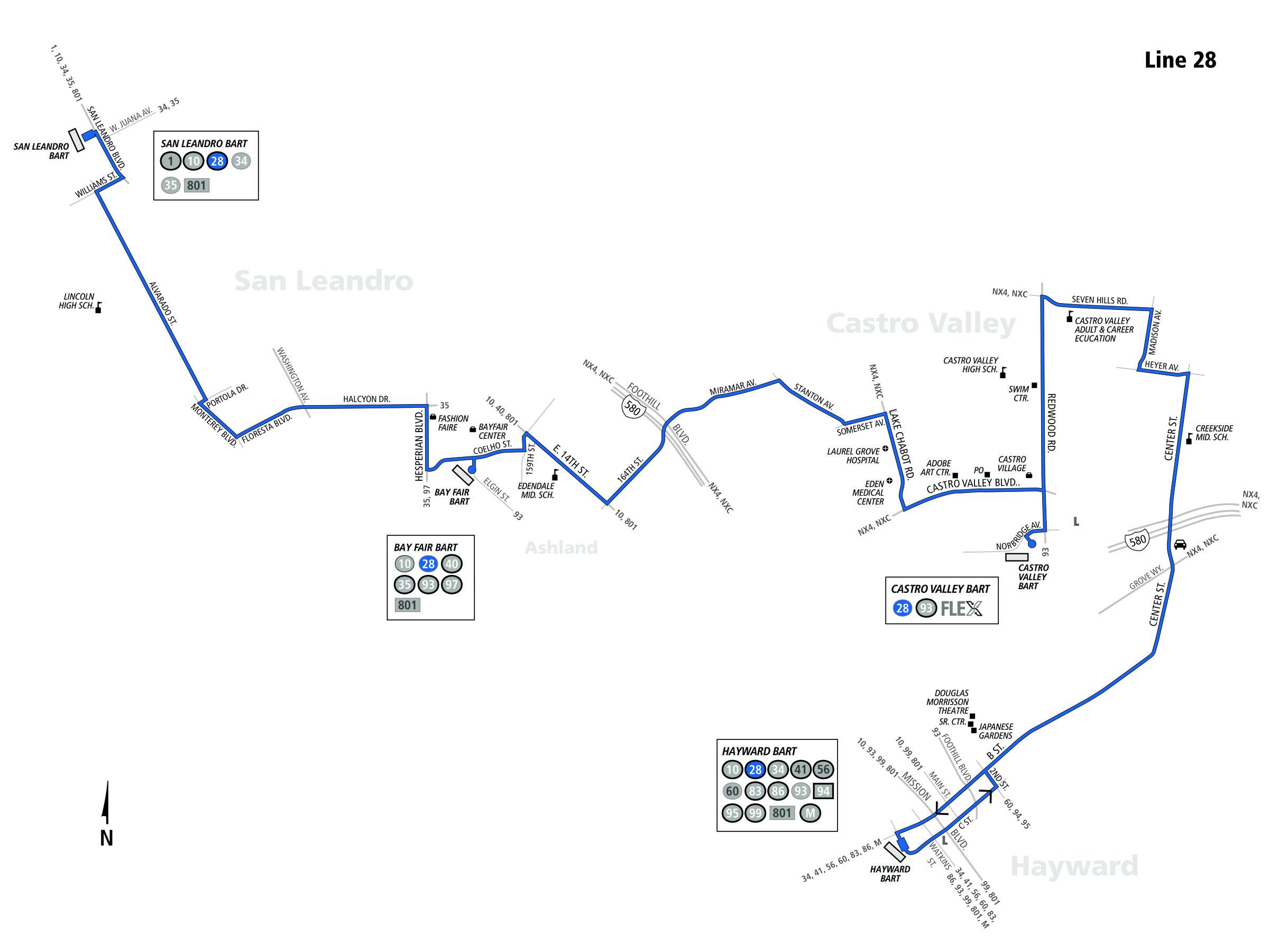 28 bus route - ac transit - sf bay transit