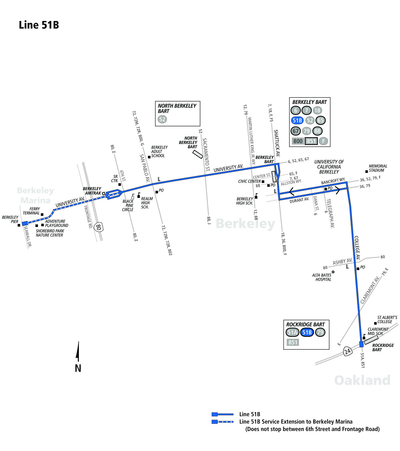 route_51B  Berkerley Bus Route Ac Transit Map on