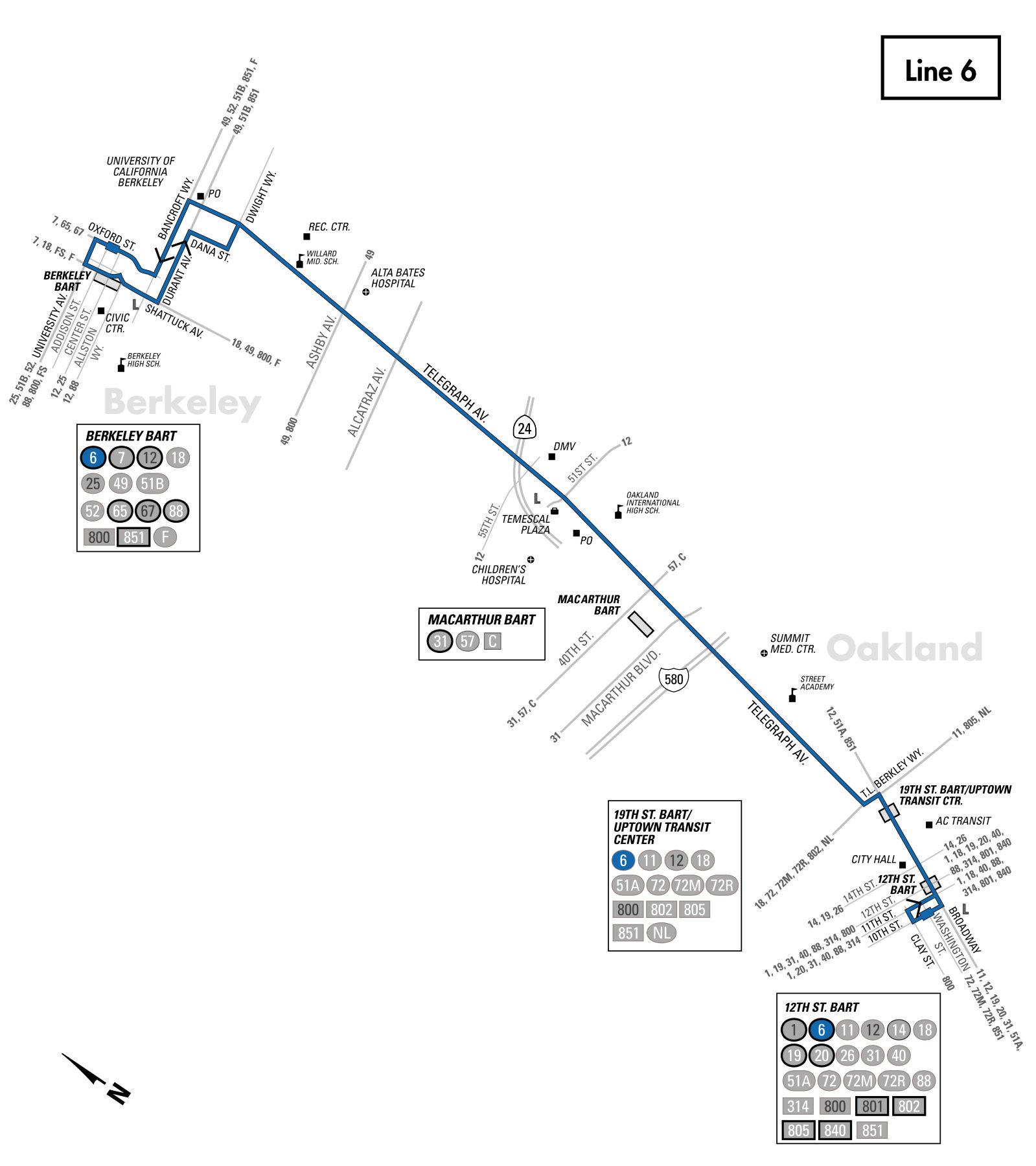 6 bus route - ac transit - sf bay transit