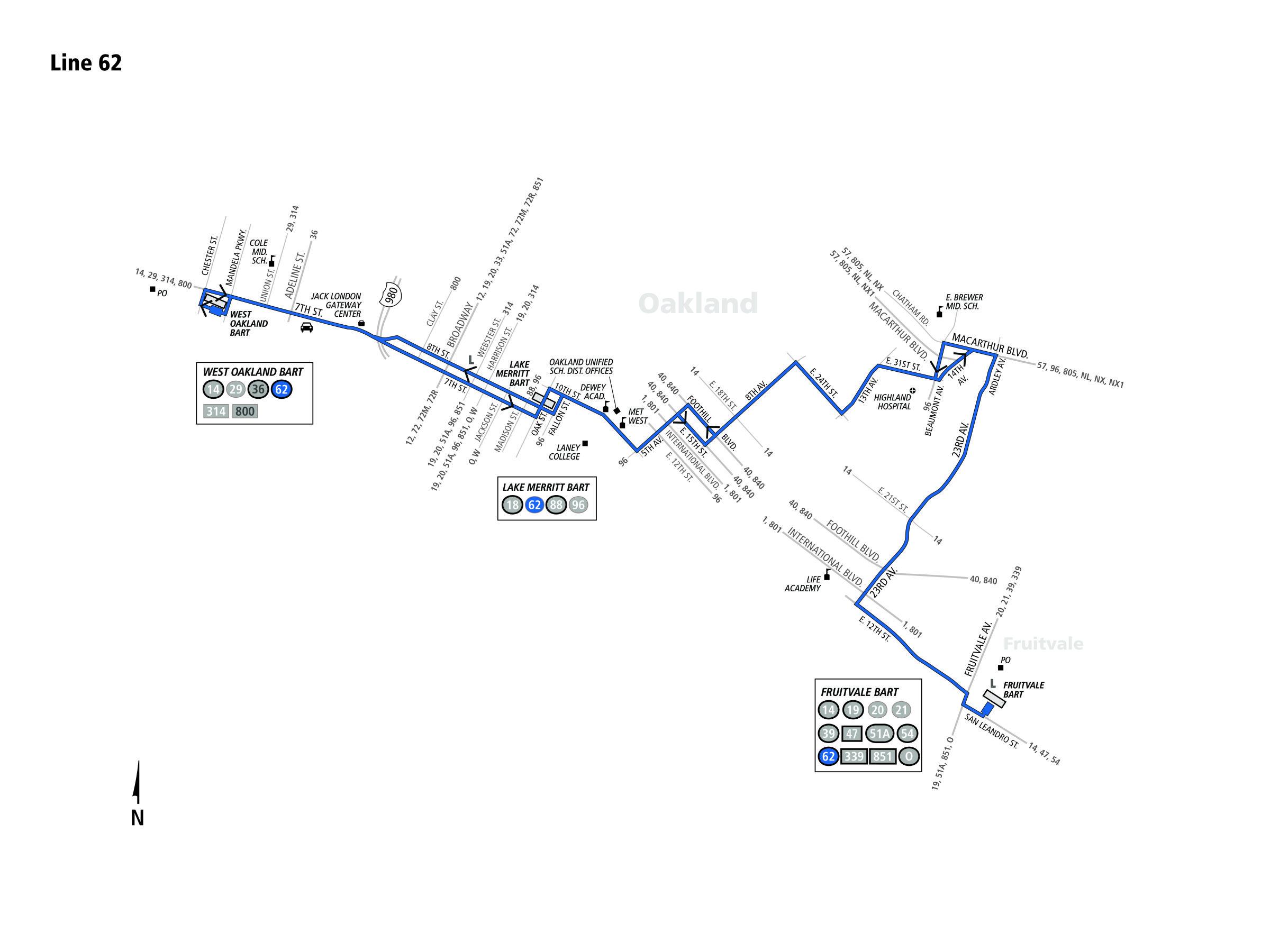 62 Bus Route Ac Transit Sf Bay Transit