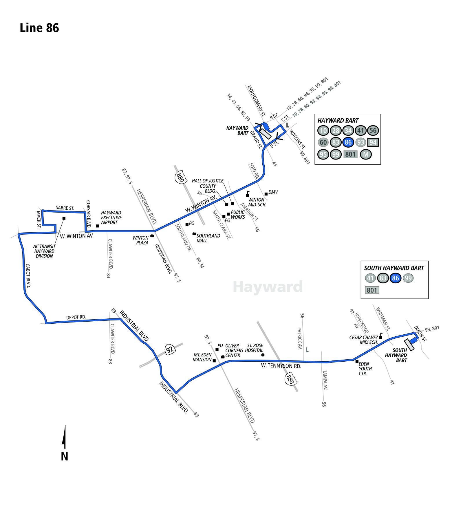 86 Bus Schedule Ac Transit Sf Bay Transit