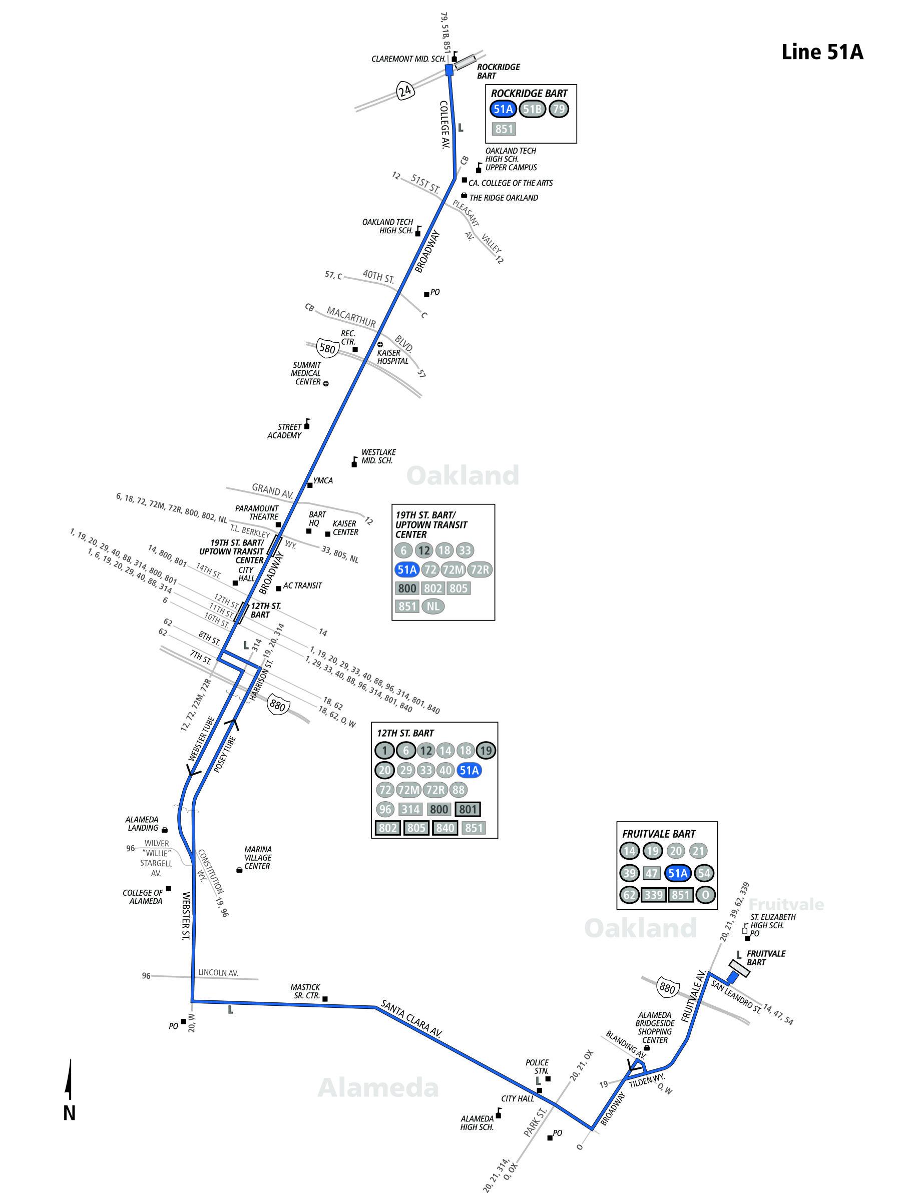 51a Bus Route Ac Transit Sf Bay Transit