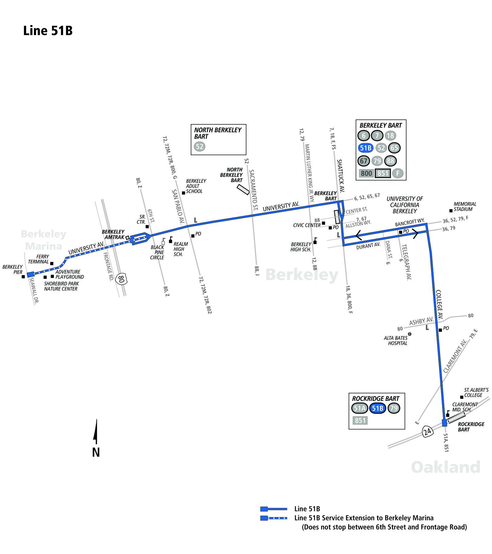 51b Bus Route Ac Transit Sf Bay Transit