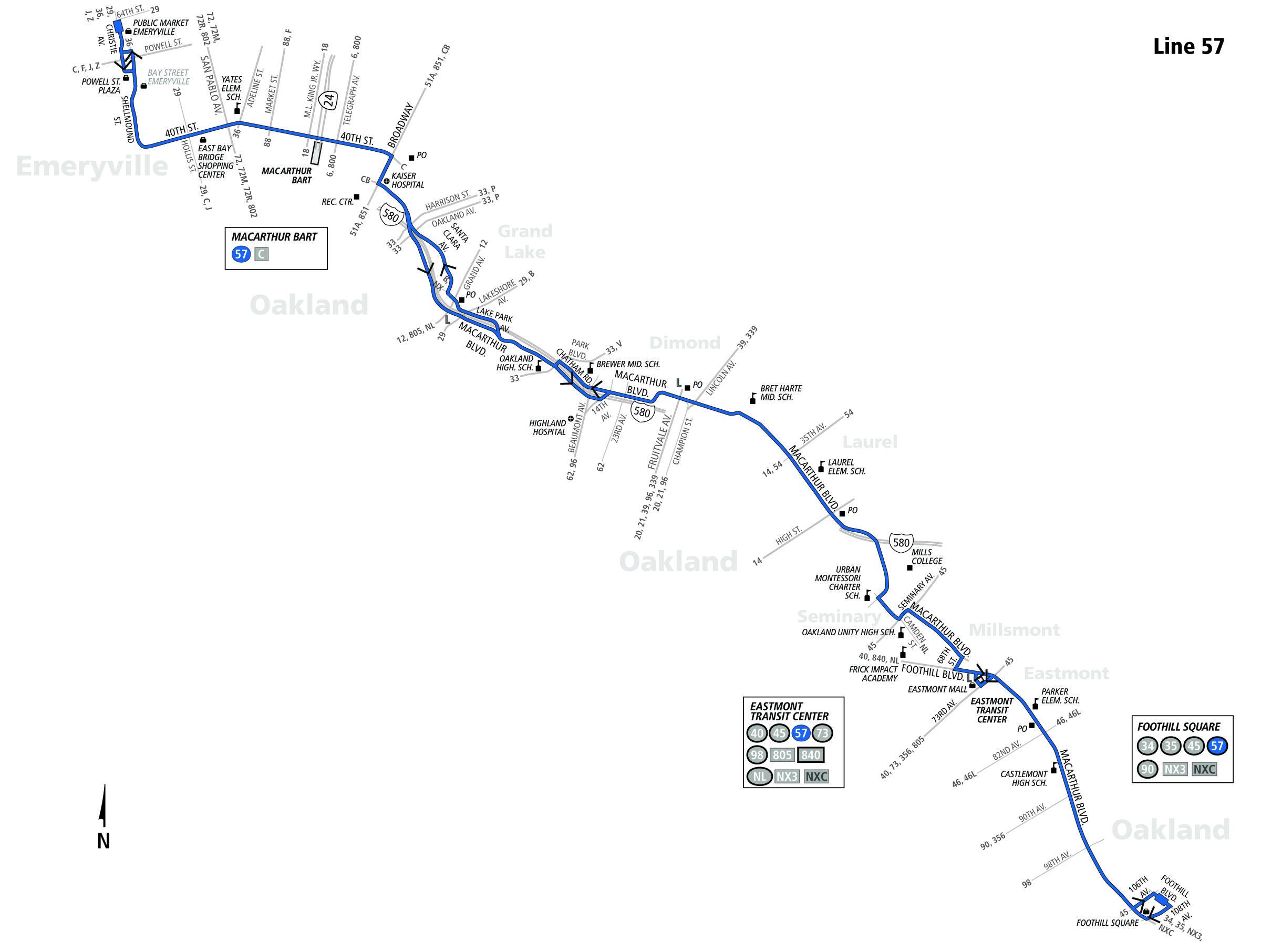 57 Bus Route Ac Transit Sf Bay Transit