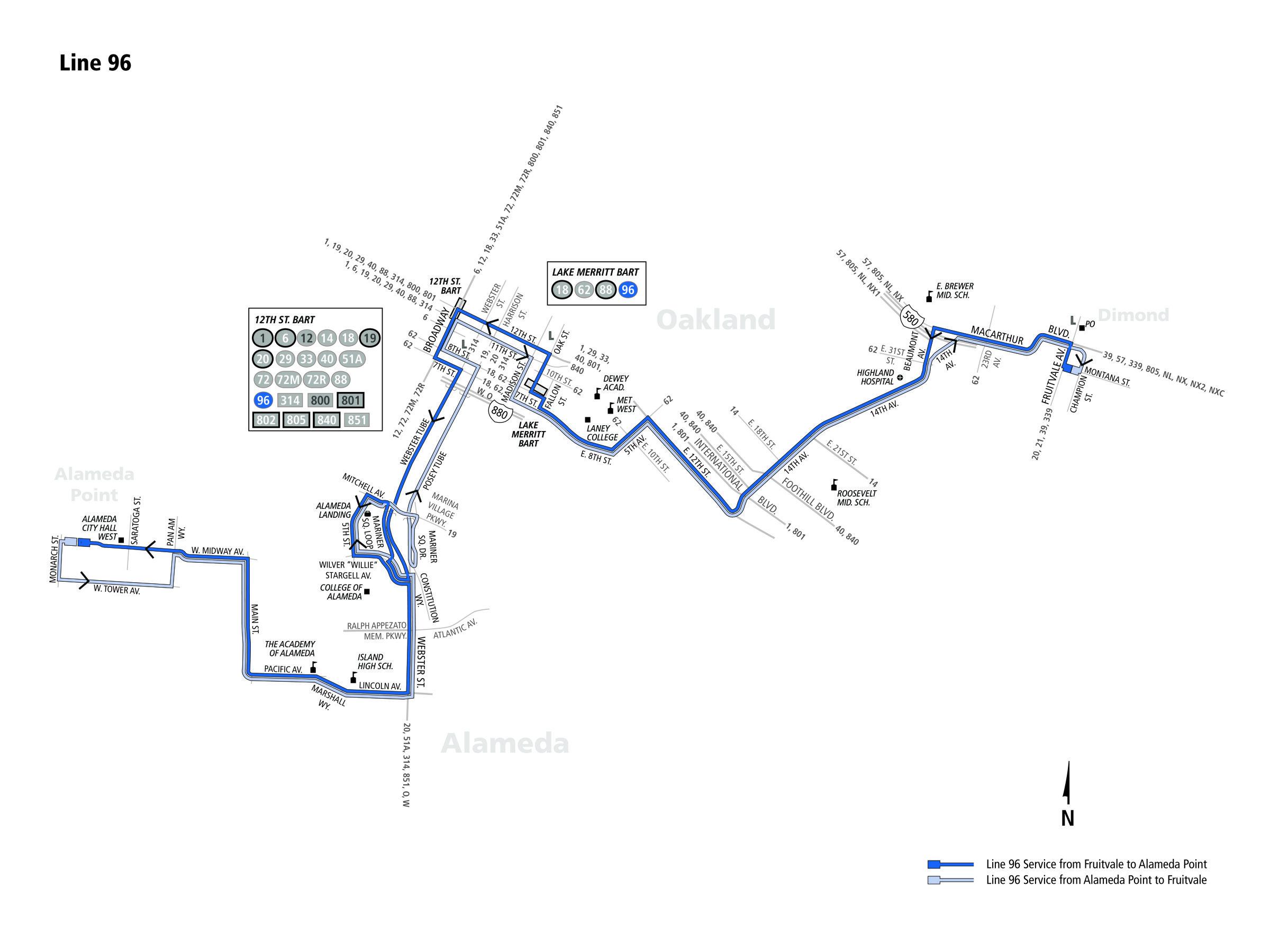 96 Bus Route Ac Transit Sf Bay Transit
