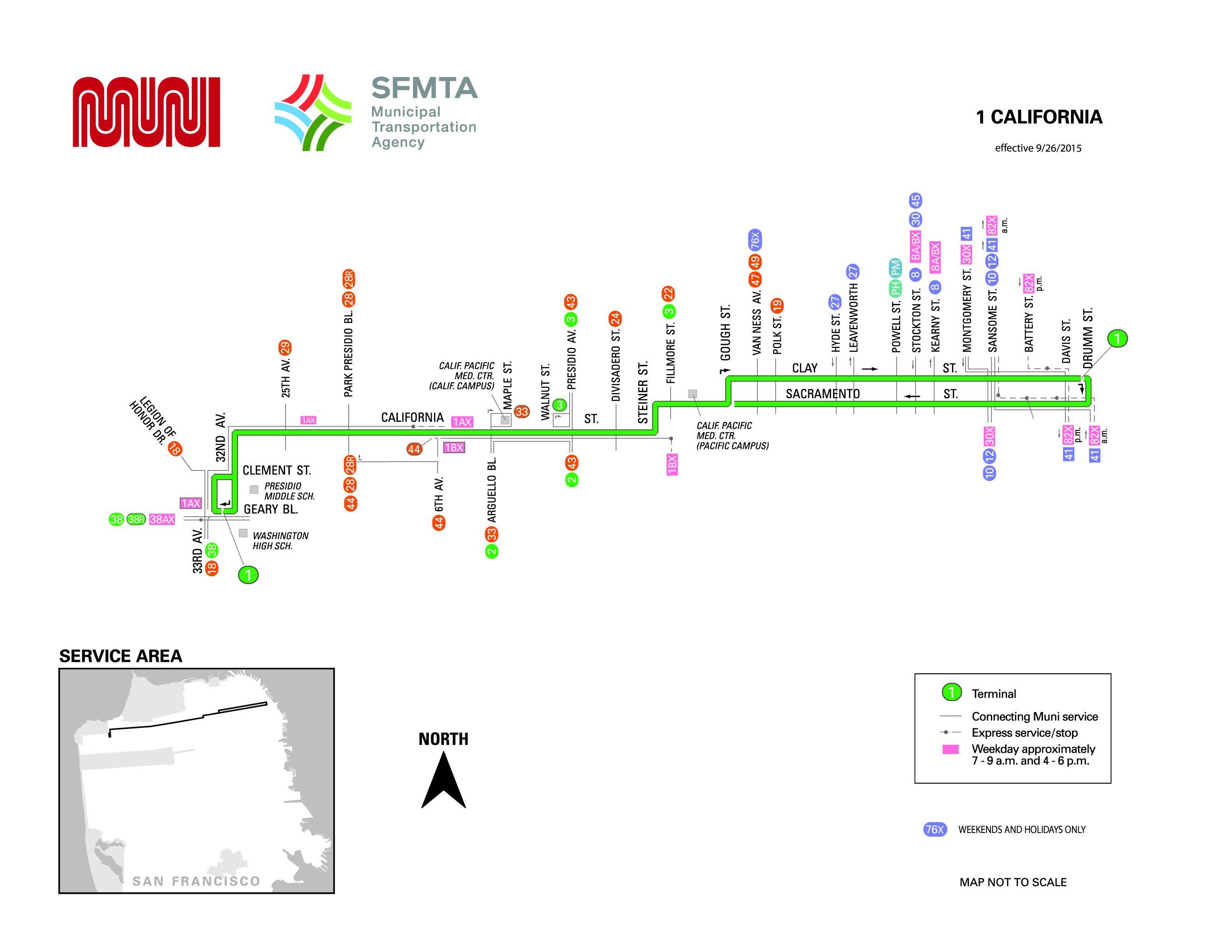 1 California Bus Route Sf Muni Sf Bay Transit
