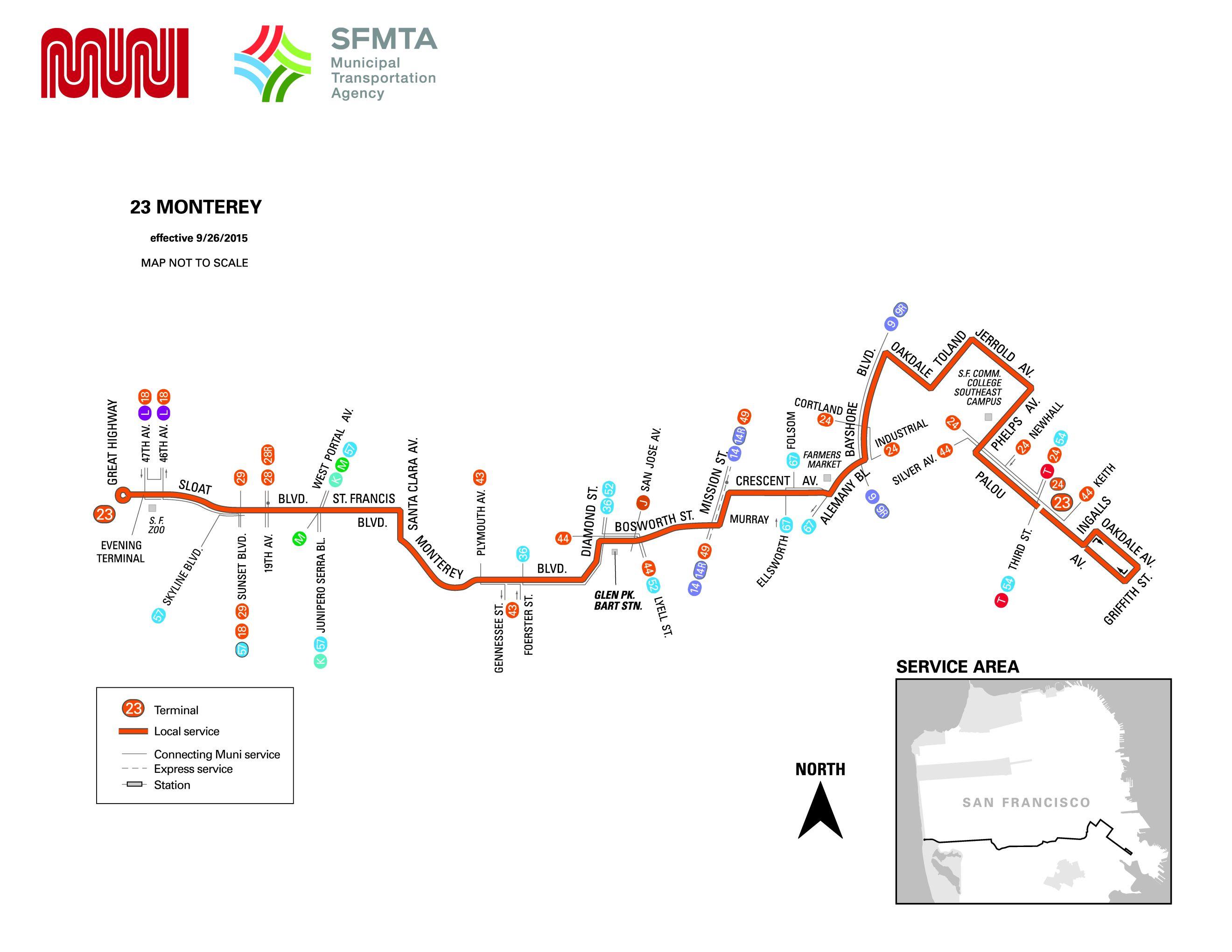23 Monterey Bus Route Sf Muni Sf Bay Transit