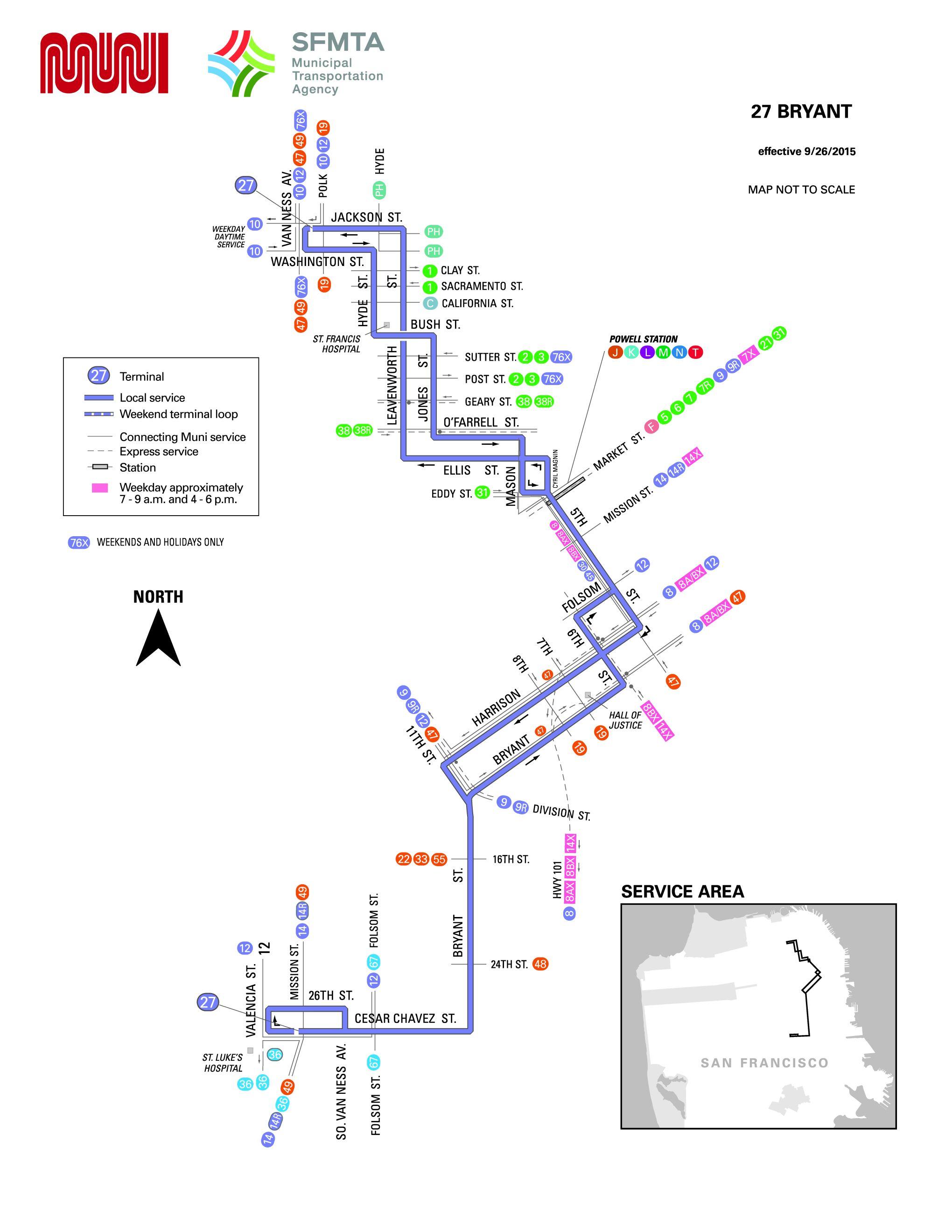 27 Bryant Bus Route Sf Muni Sf Bay Transit
