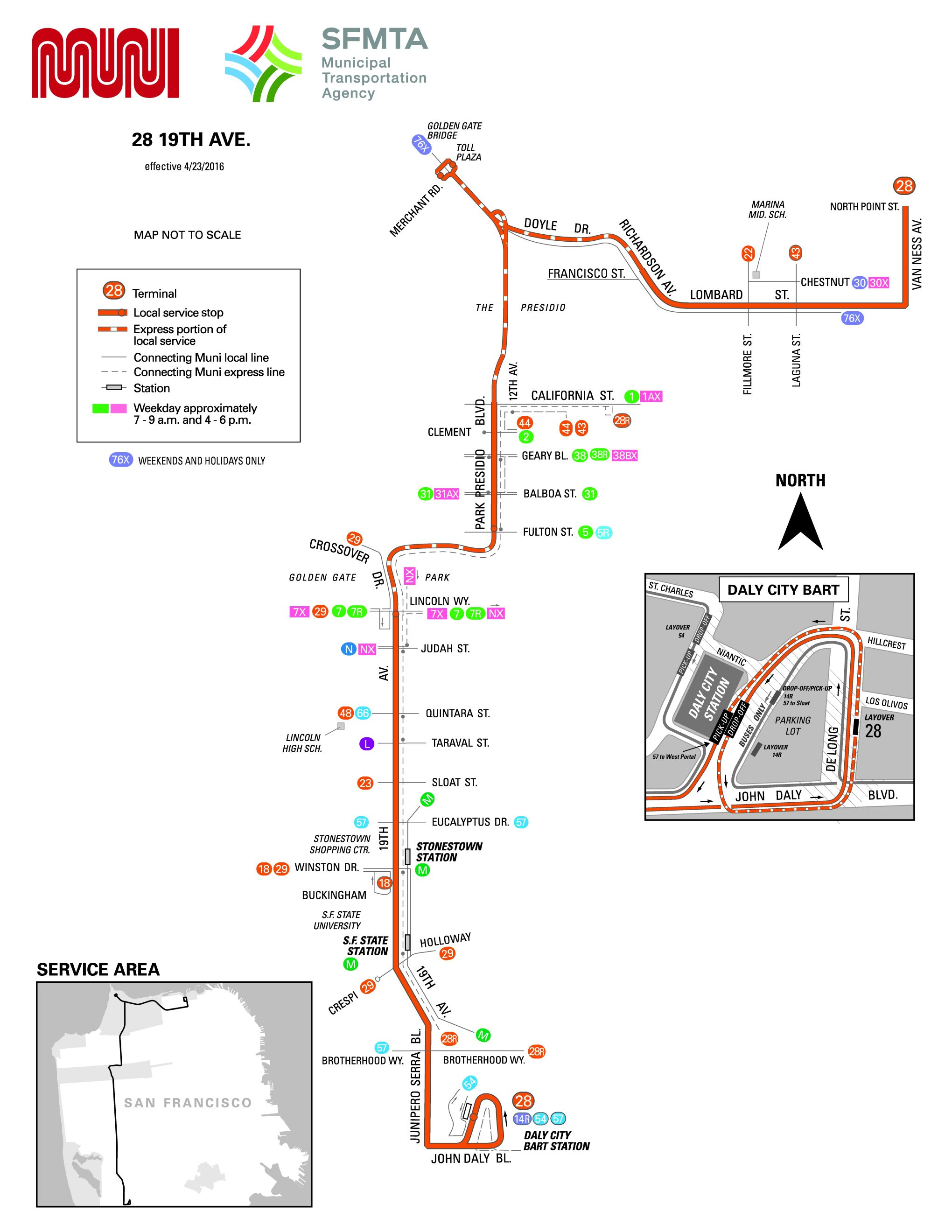 28 19th Avenue Bus Route Sf Muni Sf Bay Transit