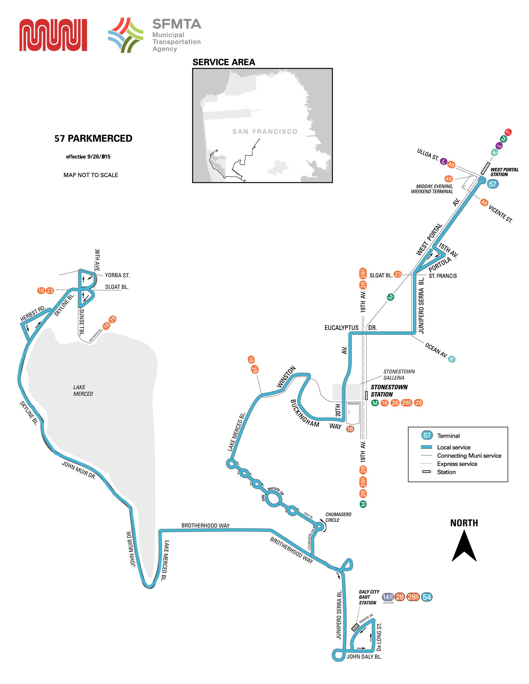 57 Parkmerced Bus Route Sf Muni Sf Bay Transit