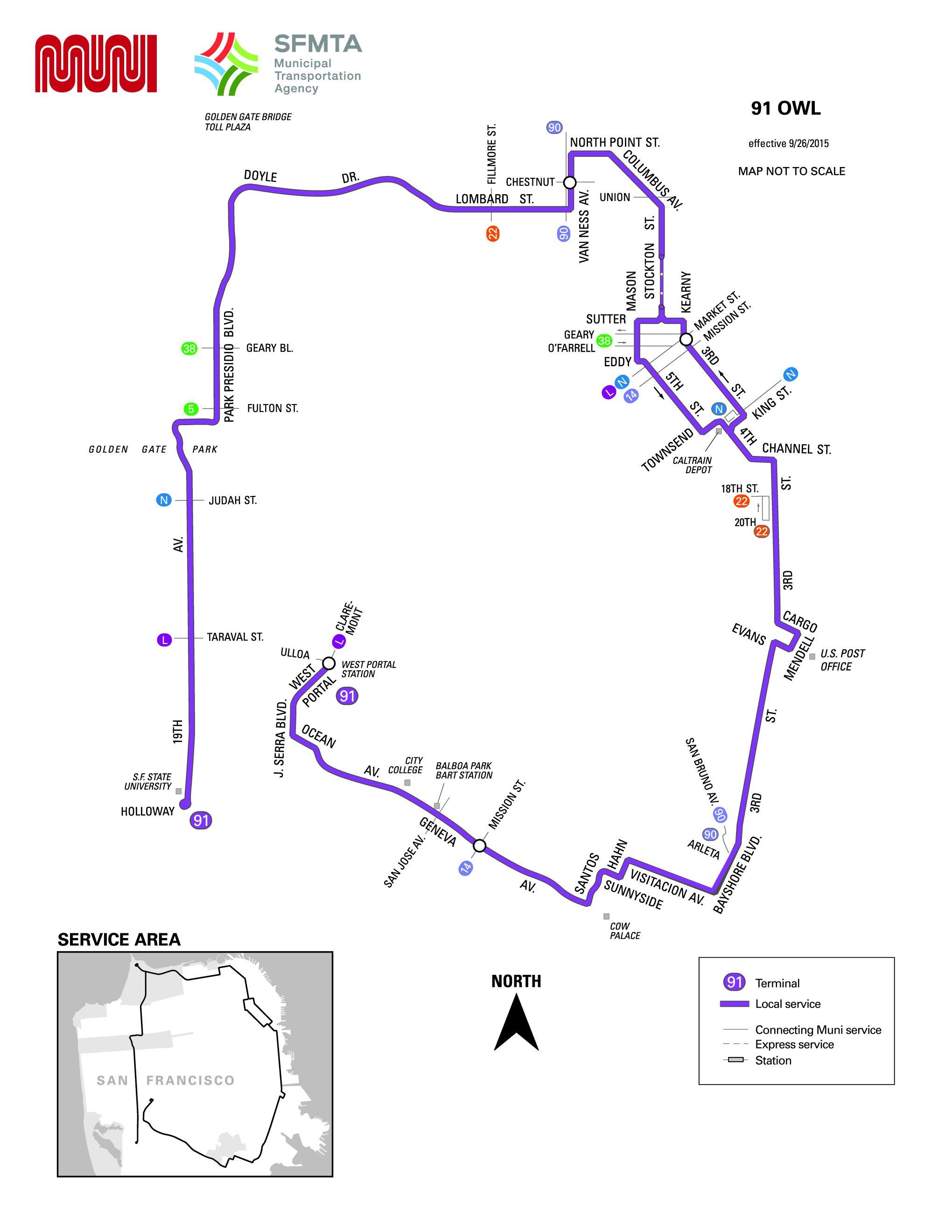91 3rd 19th Ave Owl Bus Route Sf Muni Sf Bay Transit