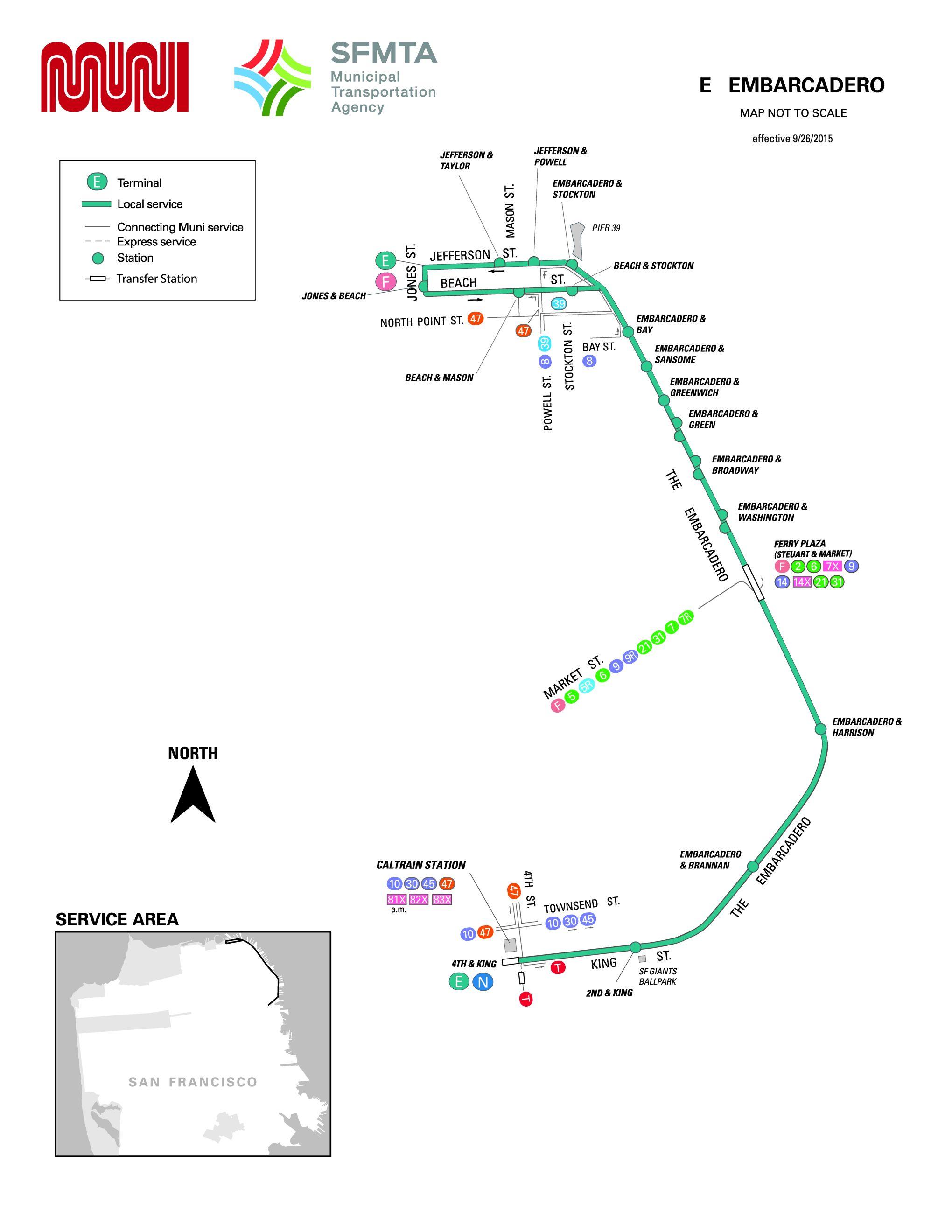E Embarcadero Streetcar Route Sf Muni Sf Bay Transit