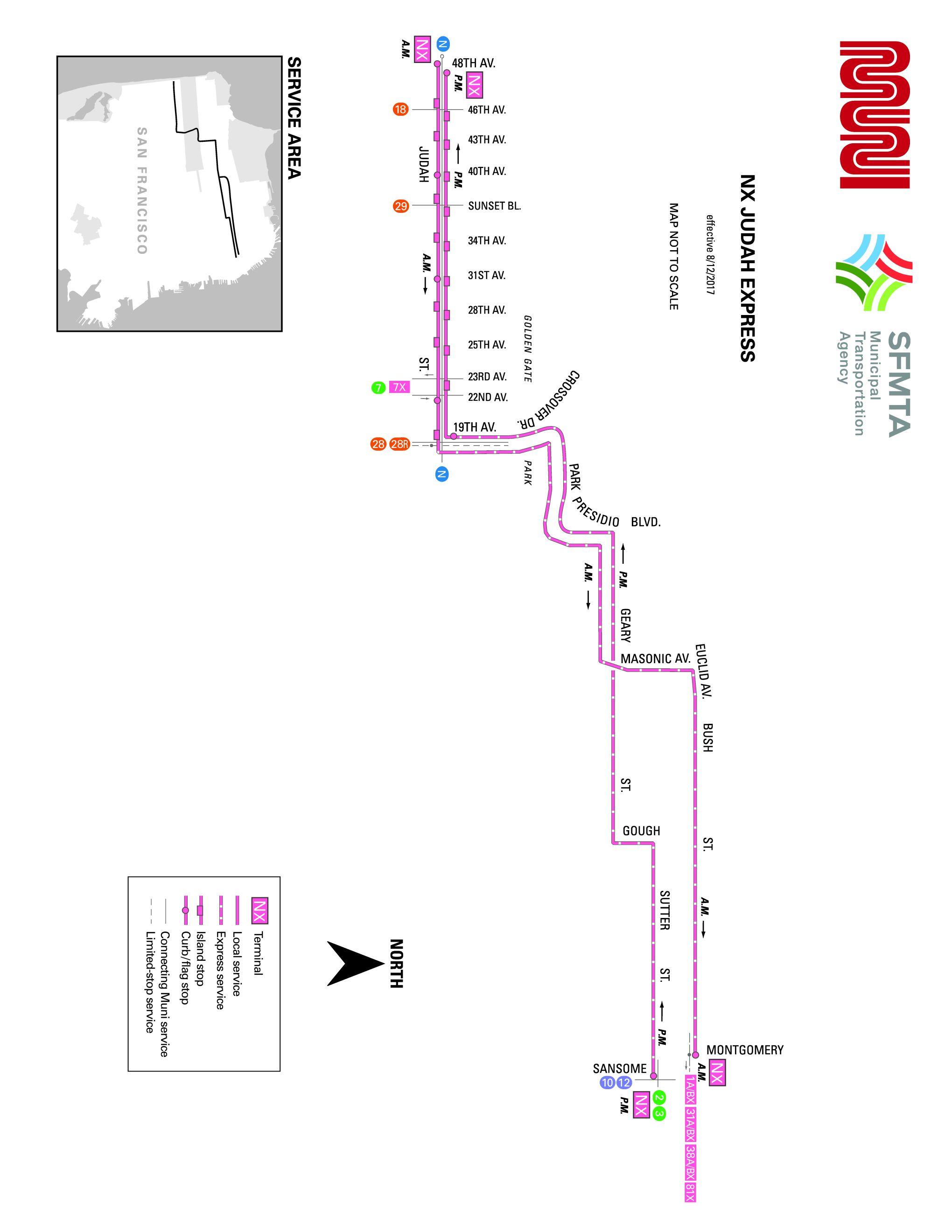 NXN Express Bus Route SF MUNI SF Bay Transit