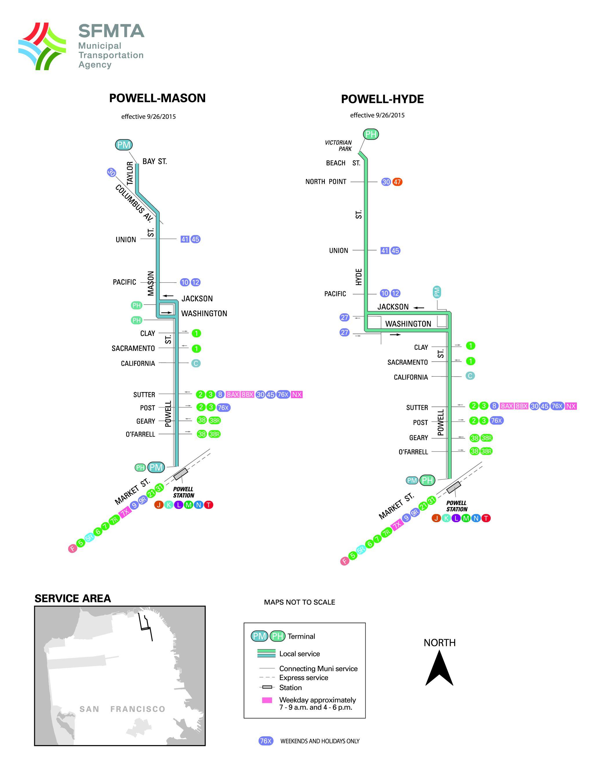 Powell mason cable car route sf muni sf bay transit sf muni map sciox Choice Image