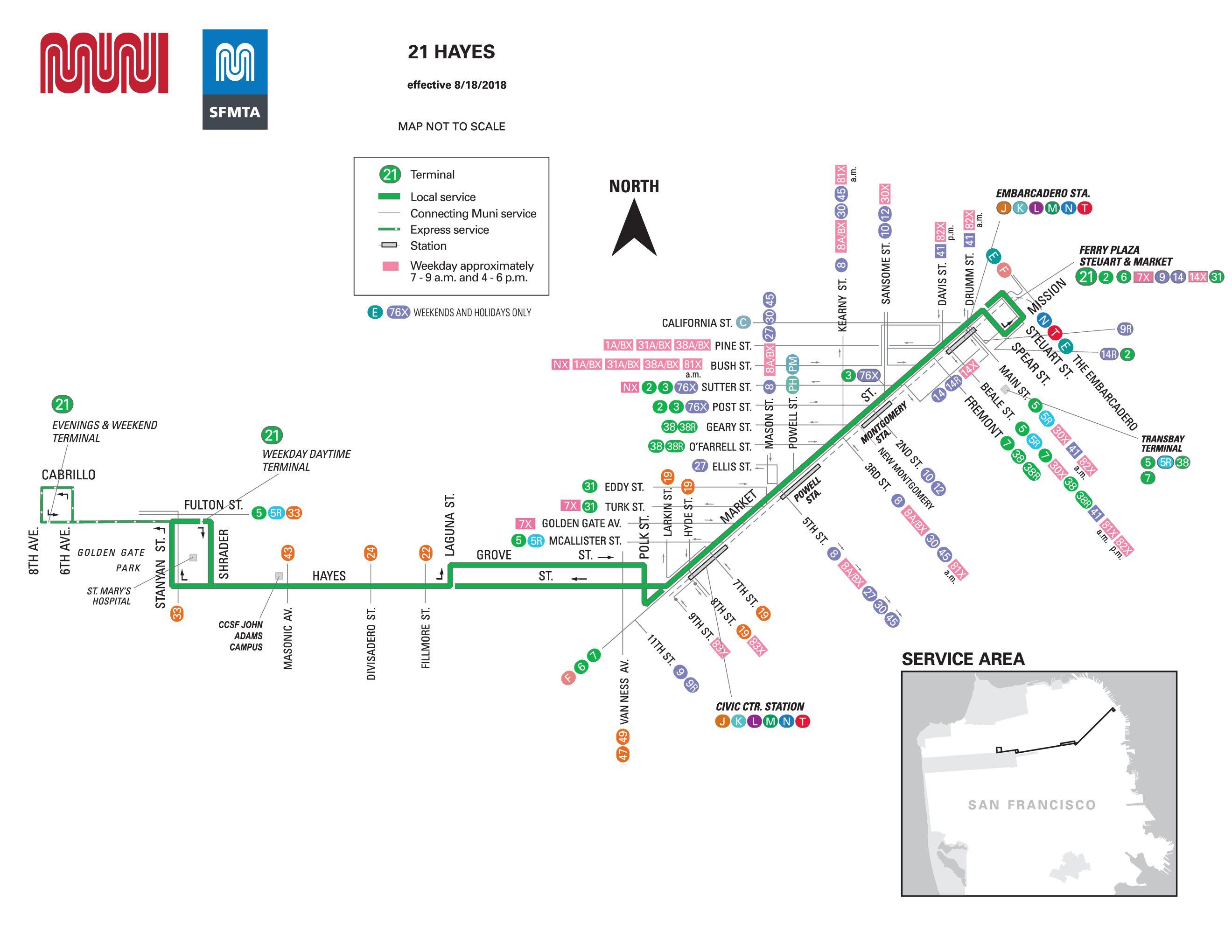 21-hayes bus schedule - sf muni - sf bay transit