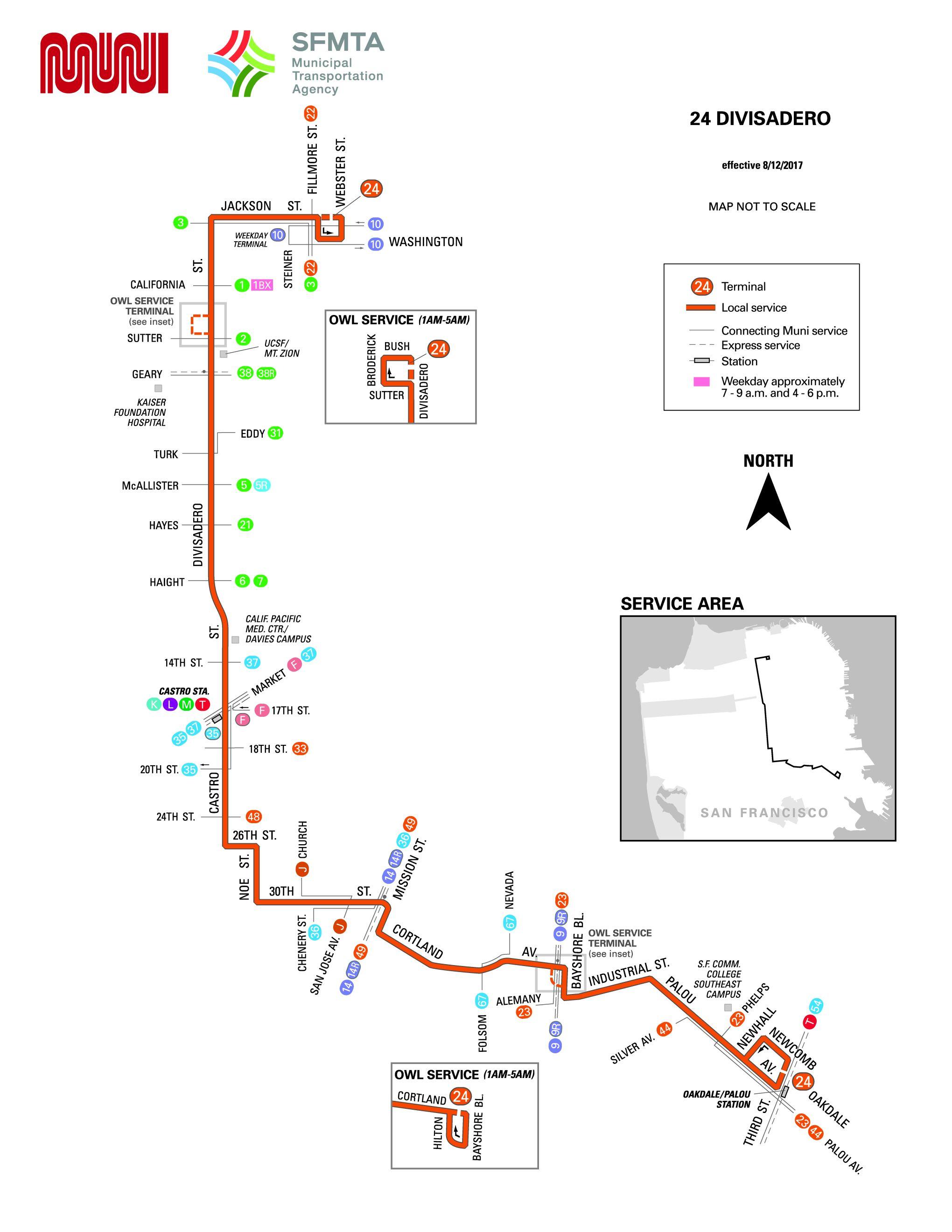 24 Divisadero Bus Route Sf Muni Sf Bay Transit