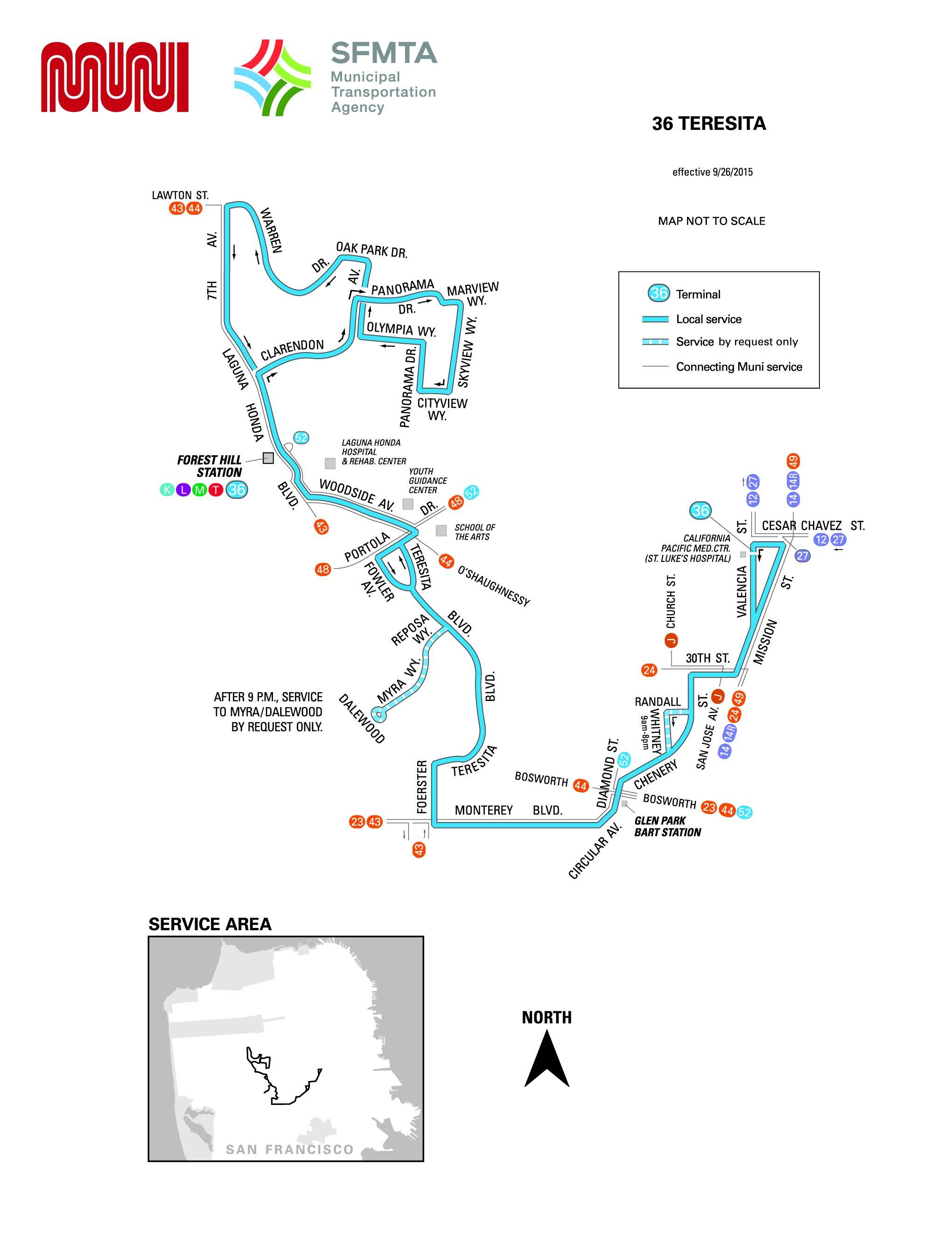 36-teresita bus schedule - sf muni - sf bay transit