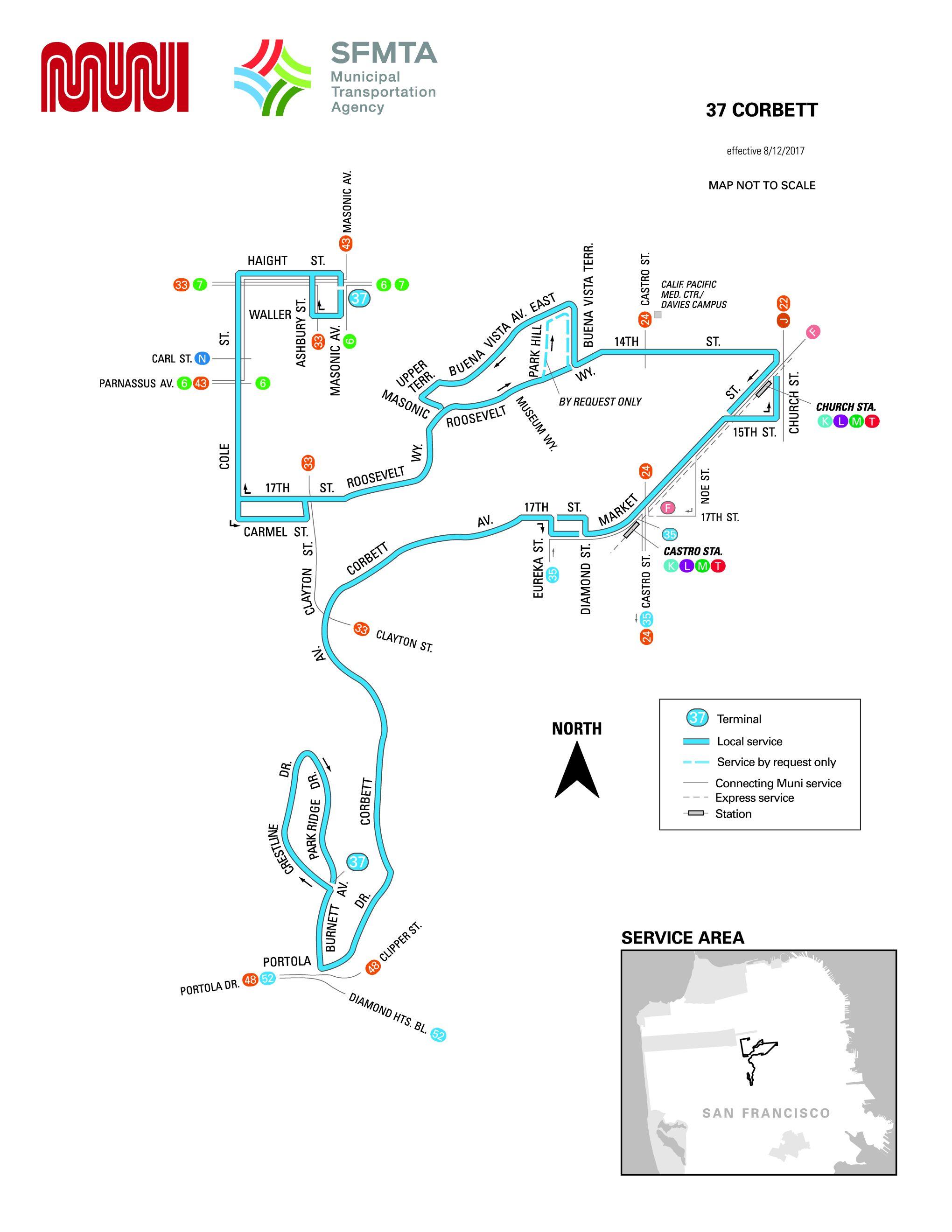 37 Corbett Bus Route Sf Muni Sf Bay Transit