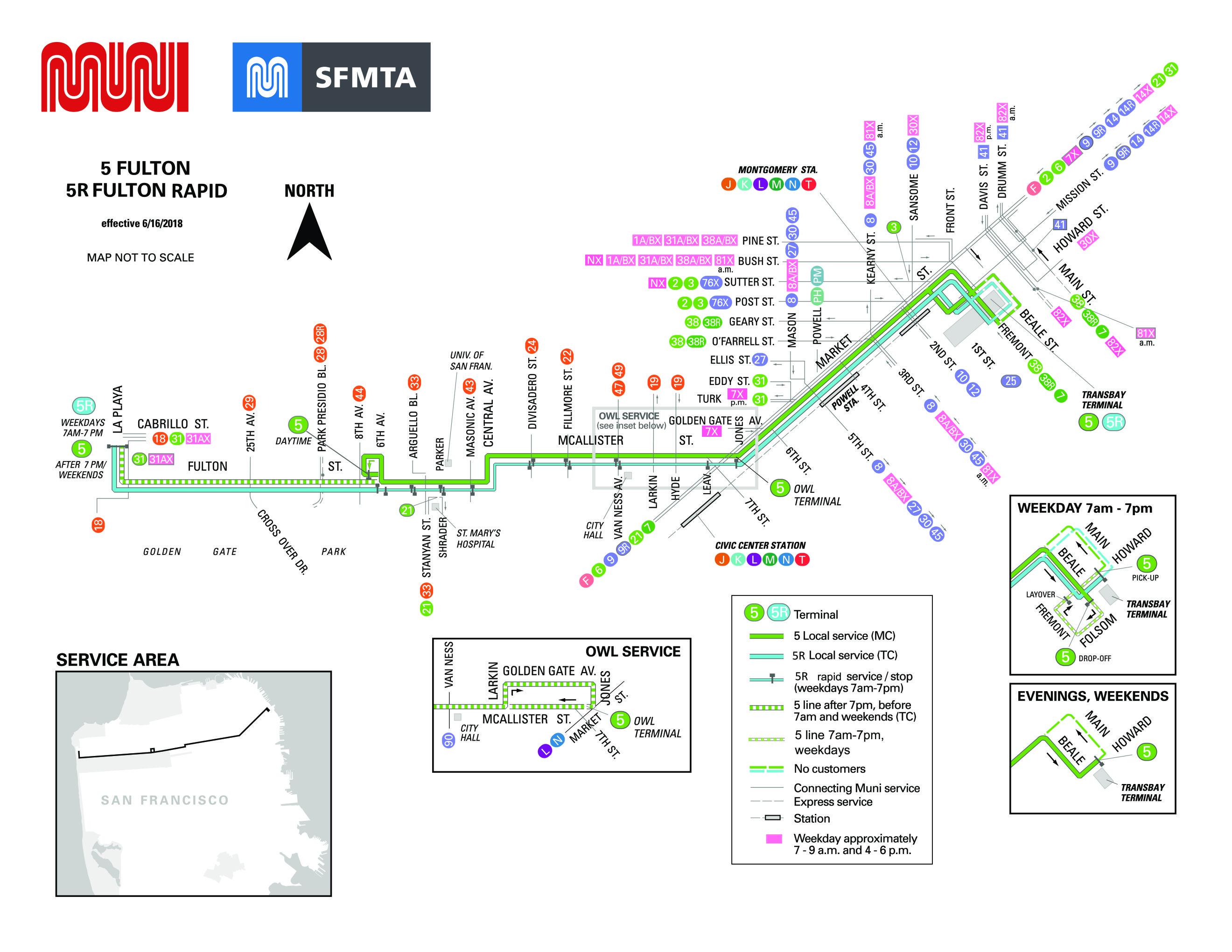 5-fulton bus route - sf muni - sf bay transit