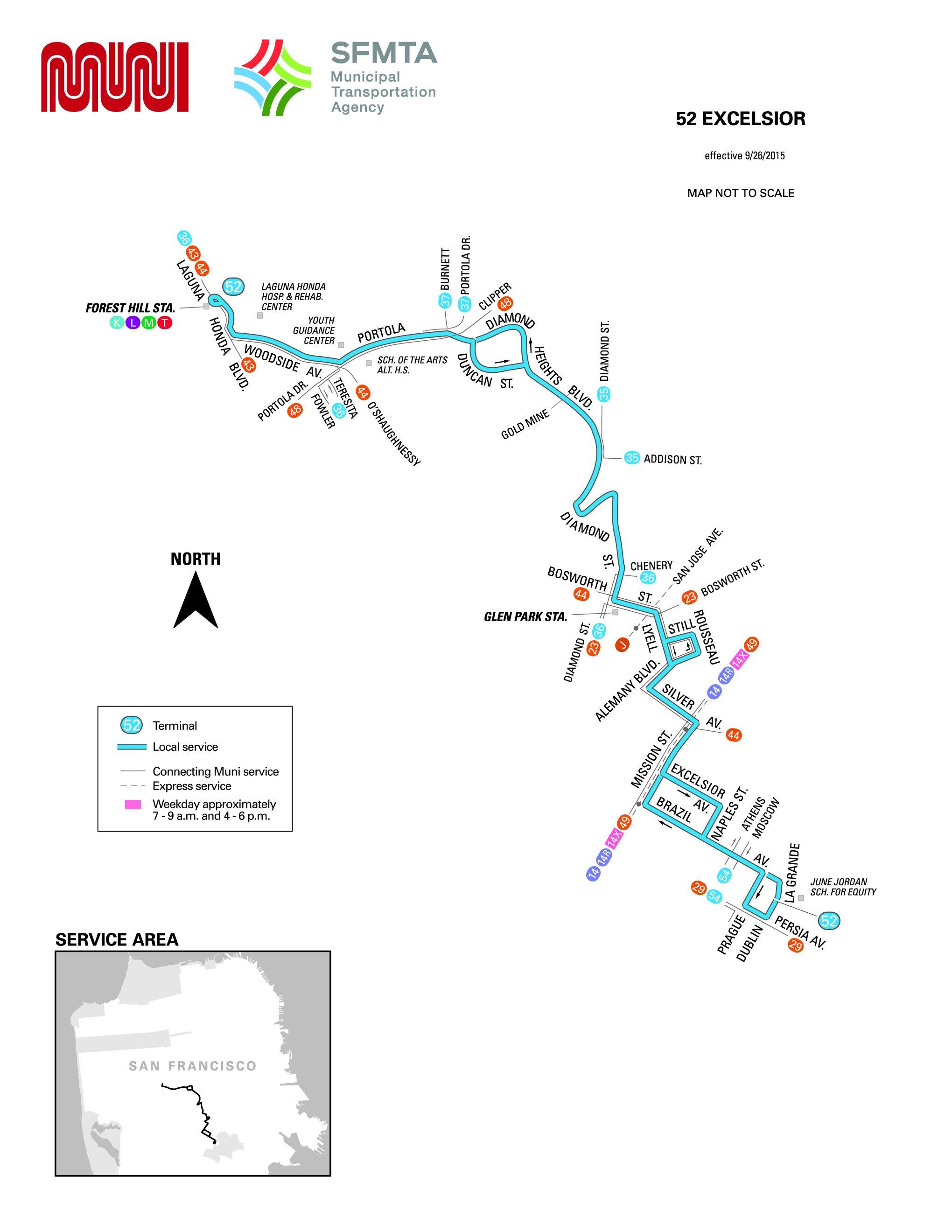 52-excelsior bus schedule - sf muni - sf bay transit