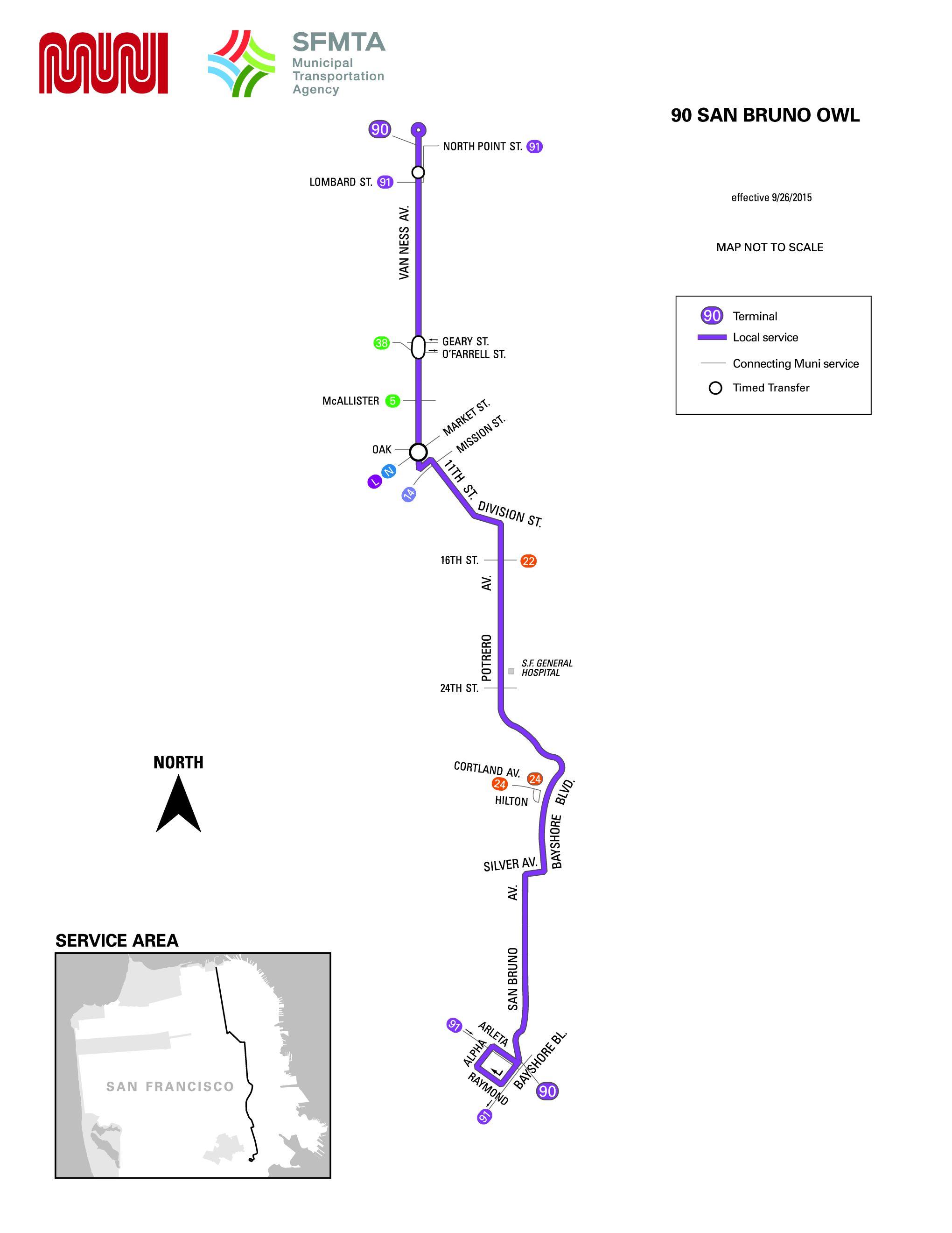 90 San Bruno Owl Bus Route Sf Muni Sf Bay Transit