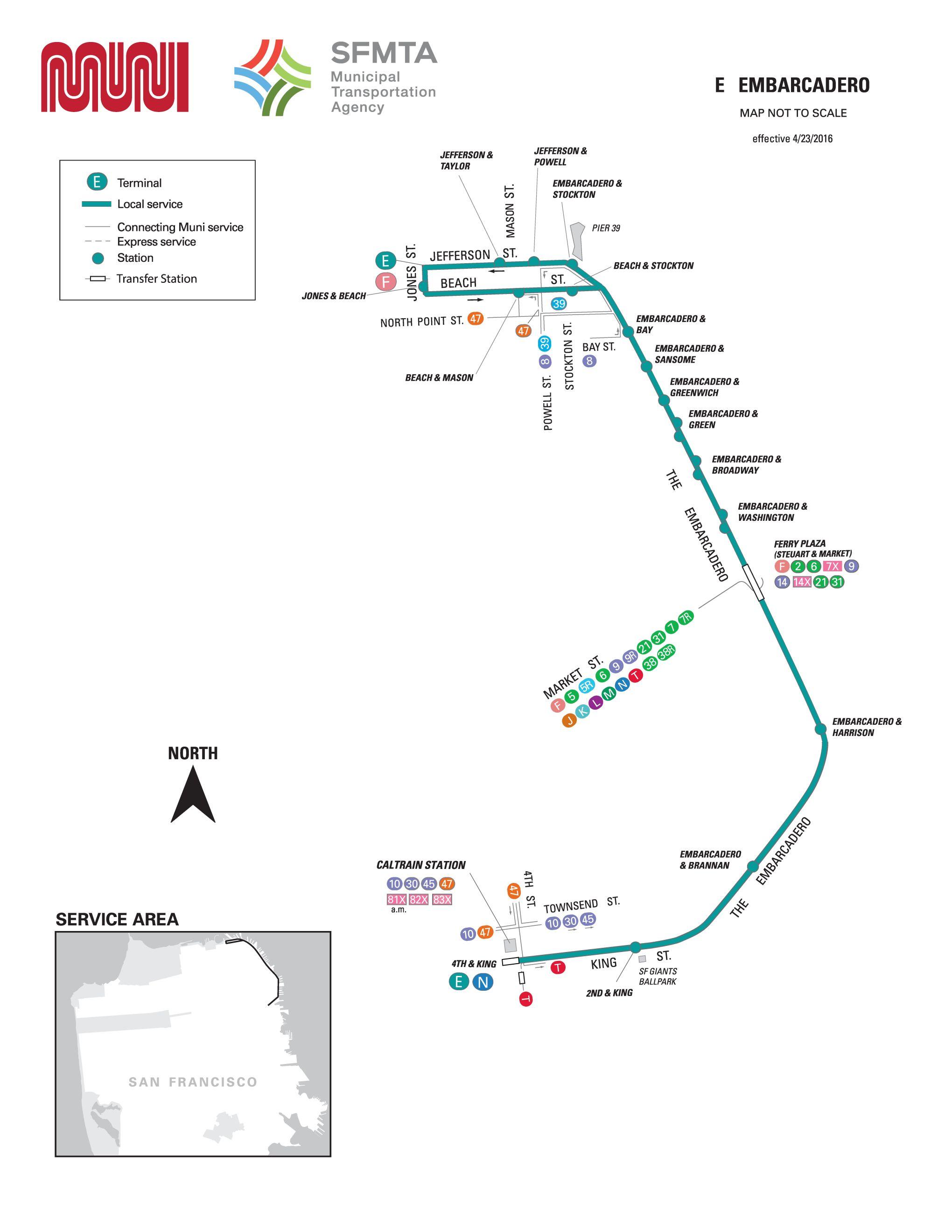 E embarcadero streetcar route sf muni sf bay transit sf muni map publicscrutiny Image collections