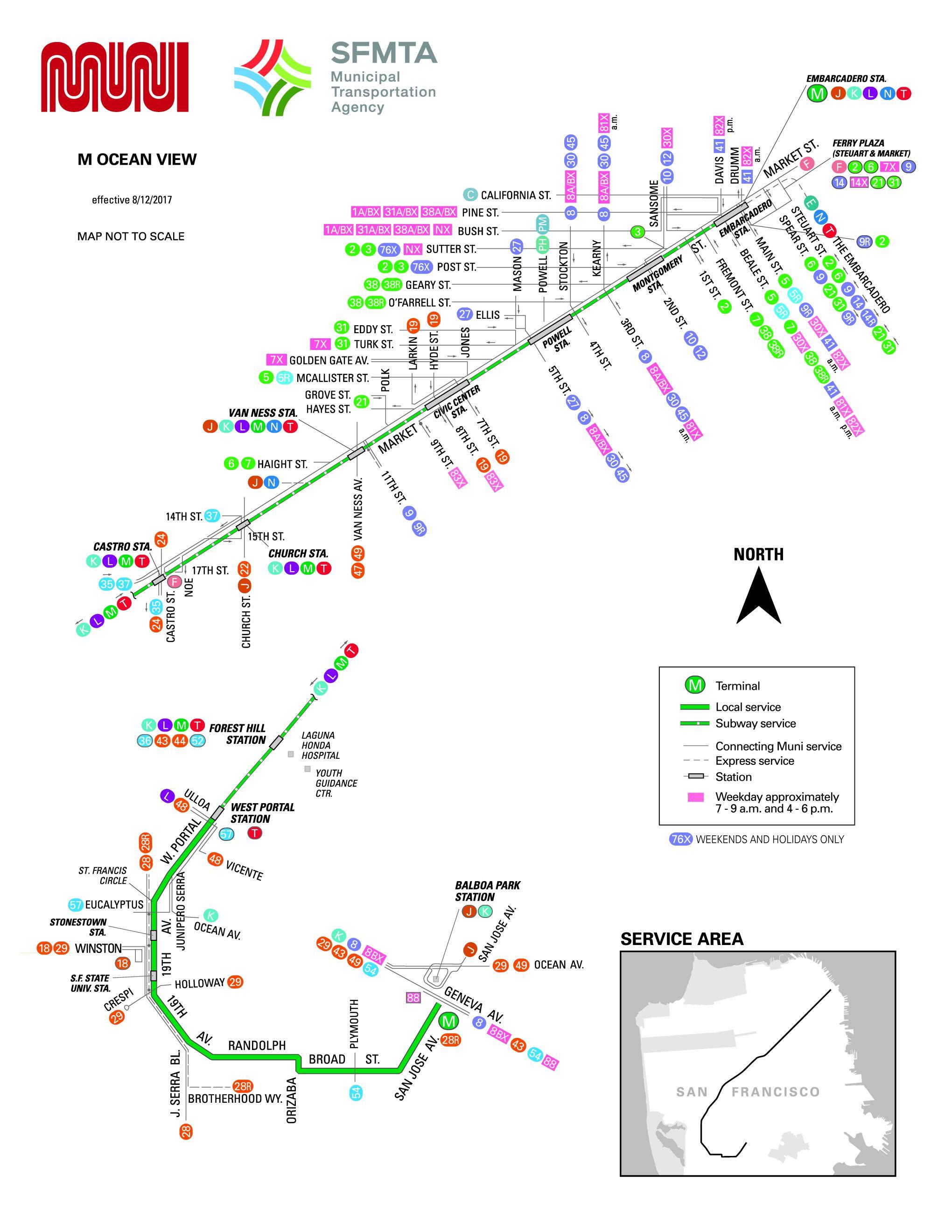 M Ocean View Streetcar Route Sf Muni Sf Bay Transit