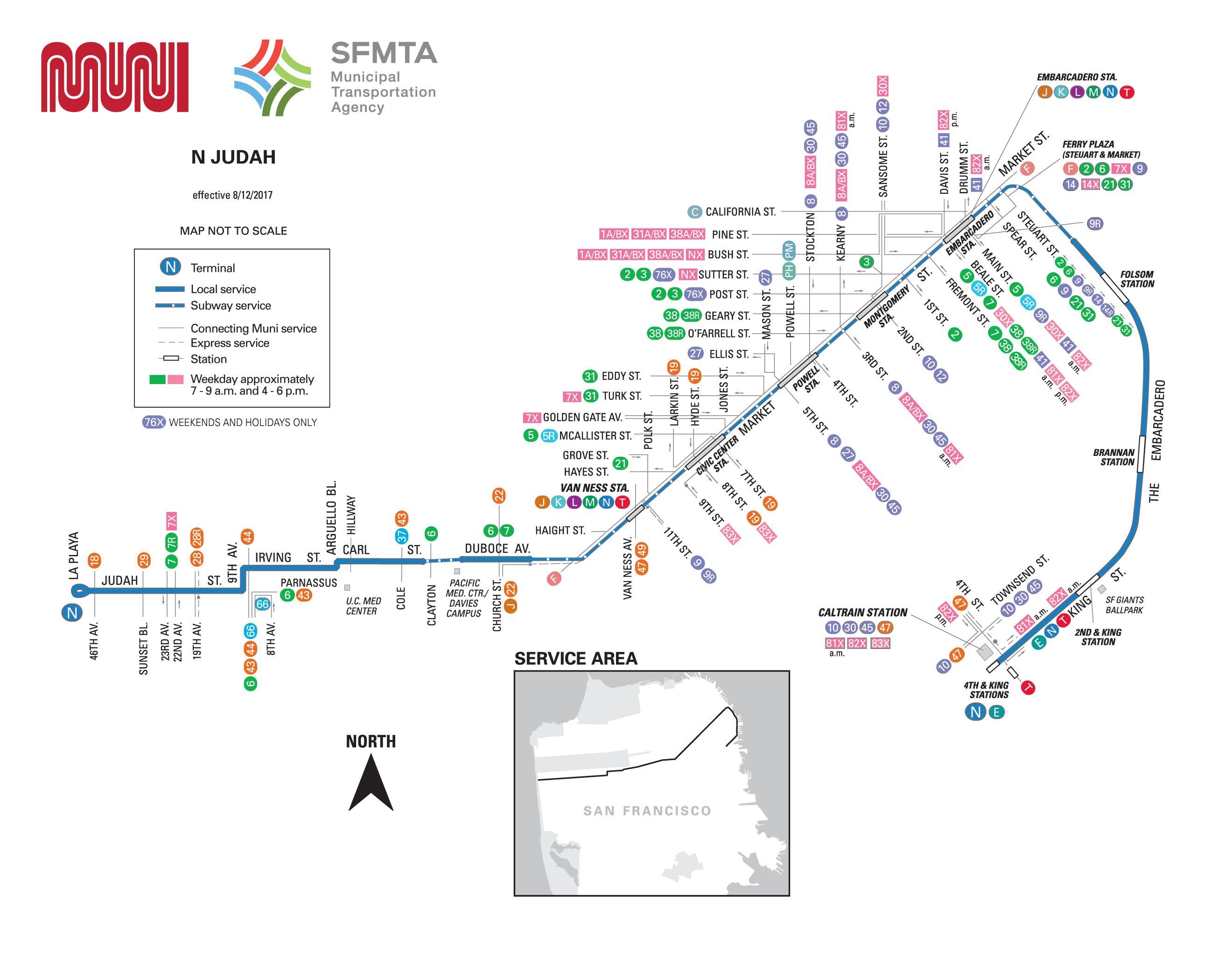 N-Judah Streetcar Route - SF MUNI - SF Bay Transit