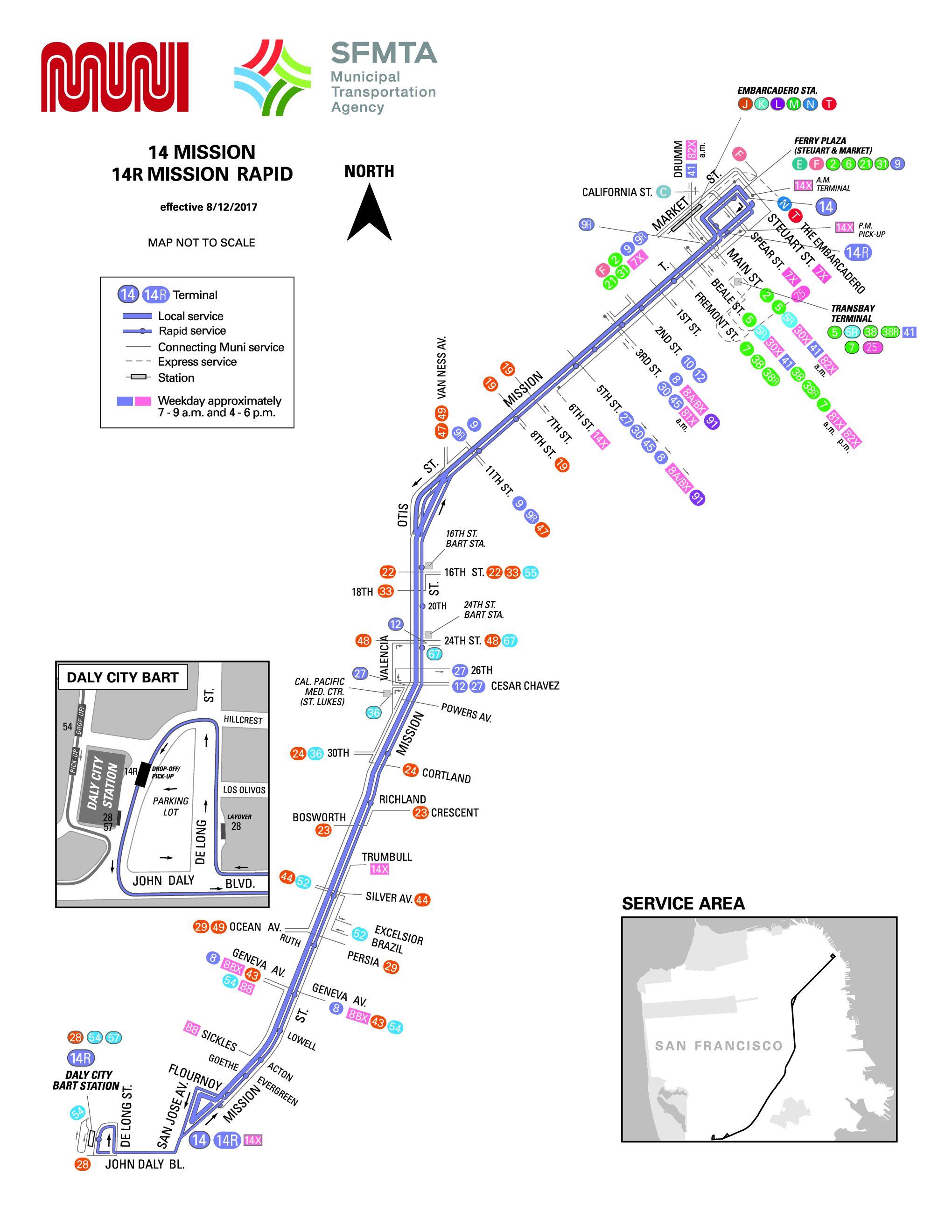 14-Mission Bus Route - SF MUNI - SF Bay Transit on embarcadero muni map, muni line map, muni railway map, bay area rapid transit map, golden gate transit map, madison metro map, muni metro map, muni transit map, downtown seattle transit tunnel map, sfmta muni map, muni trip planner map, muni owl map, la county metro map, muni station map, bay area zip code map, muni light rail map, bart map, mission bay muni map, muni downtown map, san jose, california map,