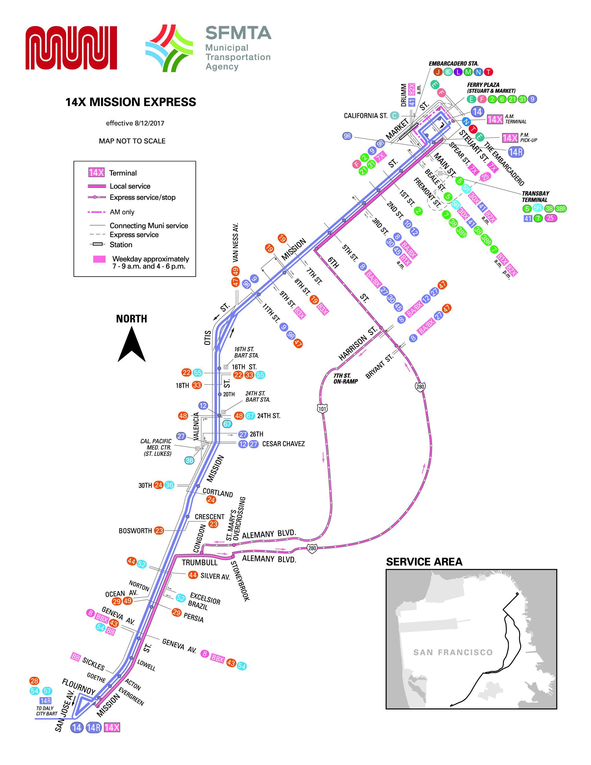 14x Mission Express Bus Route Sf Muni Sf Bay Transit