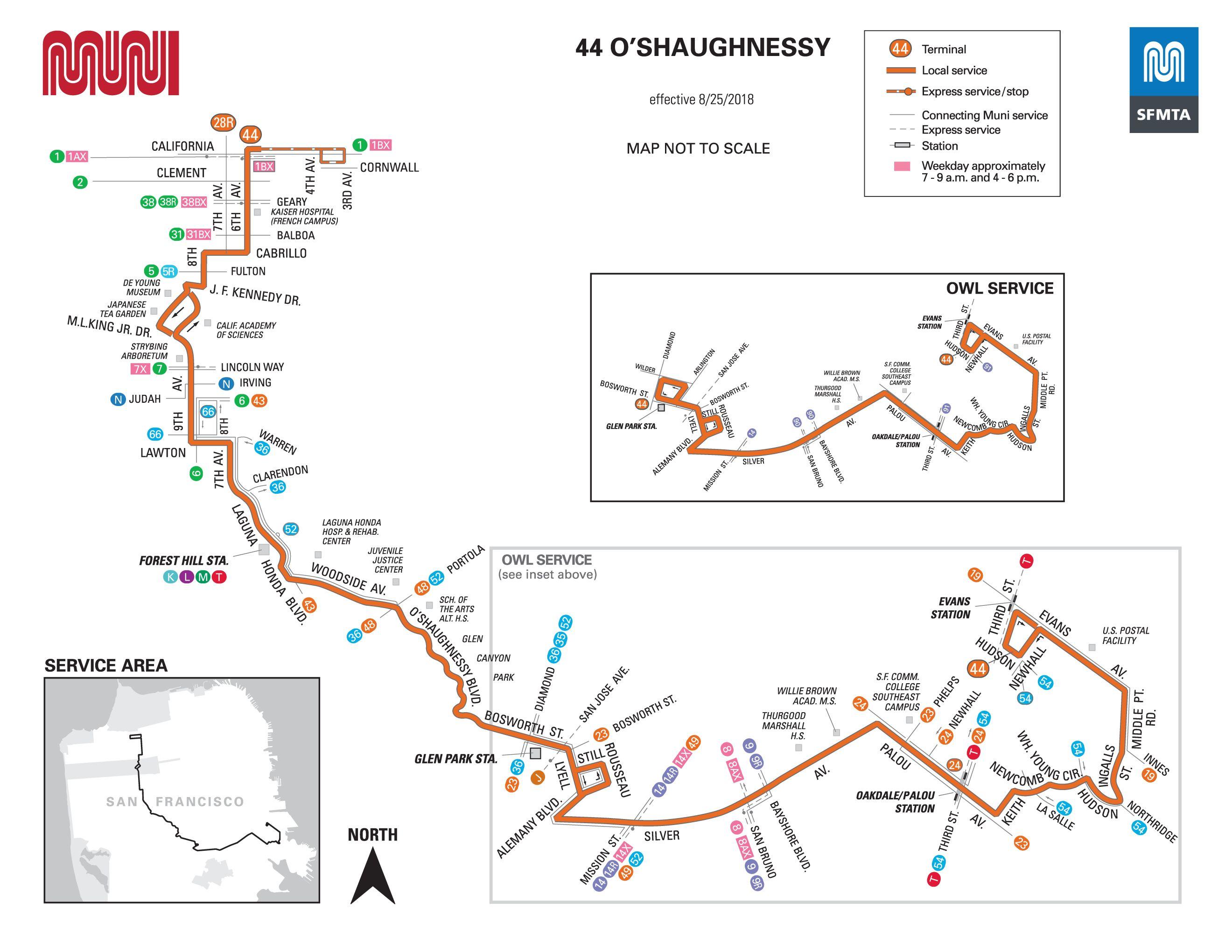 44-O'shaughnessy Bus Schedule - SF MUNI - SF Bay Transit on san francisco tourist map printable, san francisco downtown map printable, san francisco street map printable,